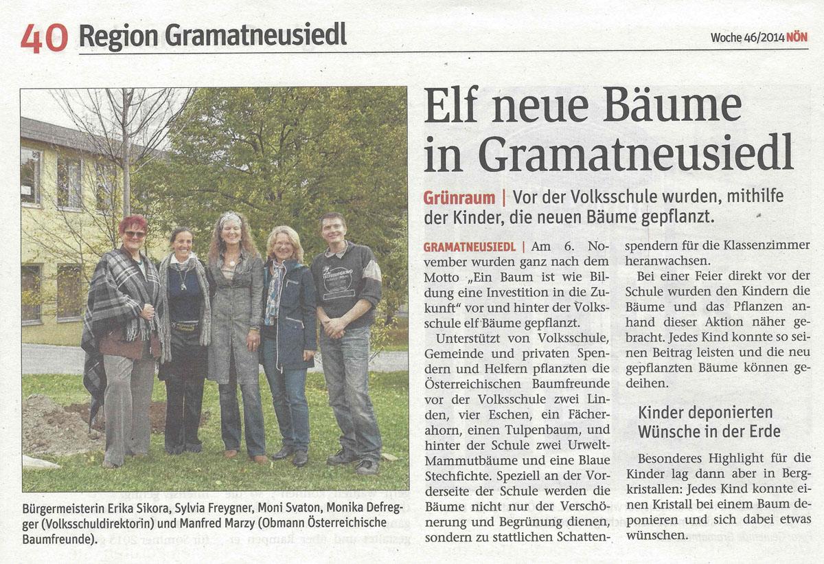 NÖN Artikel Pflanzaktion Volksschule Gramatneusiedl